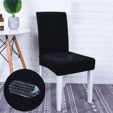 Чехол на кухонный стул трикотаж-жатка Homytex водонепроницаемый Черный