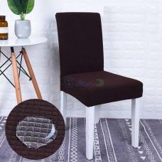 Чехол на кухонный стул трикотаж-жатка Homytex водонепроницаемый Коричневый